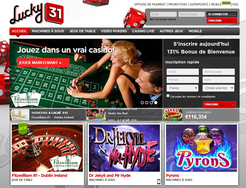retrait casino lucky31